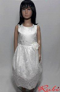 Vestido infantil branco de renda inteiro  , com detalhe flor na cintura e strass no busto tam 10