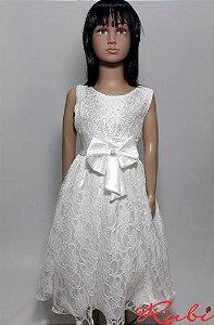 Vestido infantil  branco de renda inteiro  , busto com strass com detalhe laço tam 10