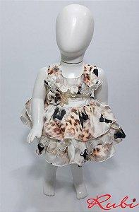 Vestido infantil estampado de panda , com babado det flor  tam m