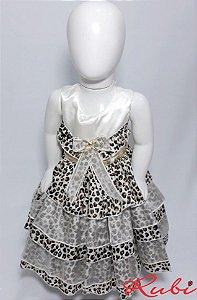 Vestido infantil estampado de onça com babado , detalhe cinto dourado tam: g