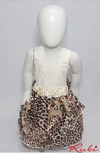 Vestido off white com a saia estampada de onça, detalhe de flor na cintura tam:1