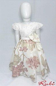 Vestido infantil busto de renda com strass, saia estampara detalhe de flor e laço na cintura tam 2