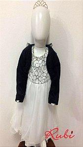 Vestido infantil branco det preto de flor no busto , saia tule com bolero preto tam 2