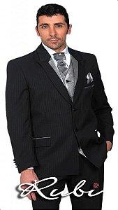 Terno noivo , modelo padrão com risca lapela preta colete prata