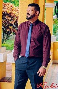 Camisa Social Marsala , gravata preta slim e calça social