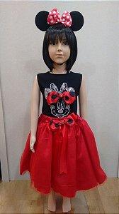 Vestido Minnie preto e vermelho com strass no busto