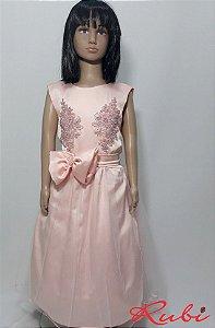 ba8d57c18 Vestido curto infantil social rosa bebe , com renda no busto com saia de  tule