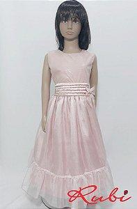 Vestido infantil social rose com detalhe na cintura drapiado e com laço tam 12