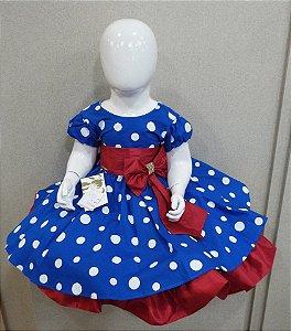 Vestido infantil galinha pintadinha azul com detalhe vermelho