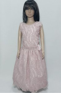 Vestido infantil , rose inteiro de renda com detalhe de flor na cintura  tam 16