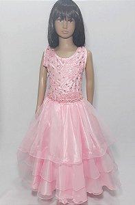 Vestido infantil rosa bebê busto renda com com bordado , saia babado tam :12