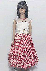 Vestido Infantil busto branco , saia vermelha com detalhe de bolinhas