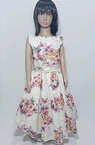 Vestido Infantil Off white florido tam : 16