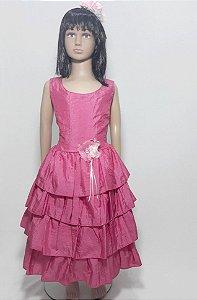 Vestido infantil pink , saia babados com detalhe de flor na cintura