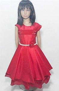 Vestido infantil vermelho , saia de babado com cinto de perola e flor
