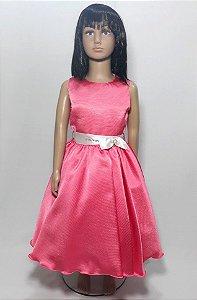 Vestido infantil rosa , com laço na cintura branco tam: 8