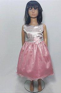 vestido infantil rose , busto de cetim saia tule com flor na cintura tam :6