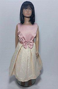 Vestido infantil busto rose , saia dourada com brilho tam :8