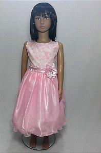 Vestido infantil rosa saia tule , com flor na cintura tam: 8