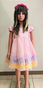 Vestido Social Rosa com cores arco iris Tam: 02/03