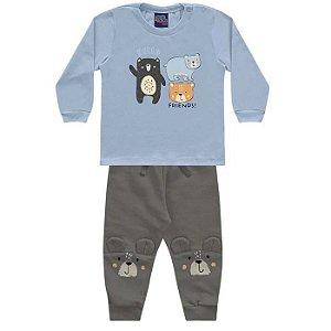 Conjunto Moletom Bebê Calça Camiseta Malha Ursinhos Positano Encantada Kiko e Kika