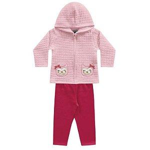 Conjunto Longo Bebê Matelassê Casaco Calça Molecotton Felpada Rosa Kiko e Kika G