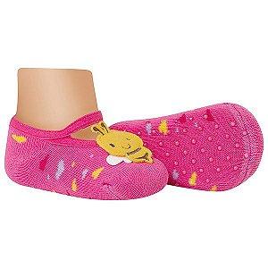 Meia Sapatilha Bebê Antiderrapante Abelhinha Pink