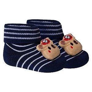 Meia Bebê Fun Socks Botinha Adereço Ursinho Preta