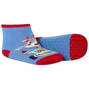 Meia Bebê Comfort Socks Antiderrapante Girafinha Azul Vermelho