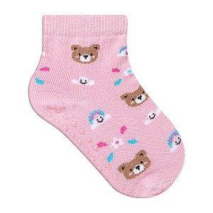 Meia Bebê Infantil Comfort Socks Antiderrapante Ursinha Rosa