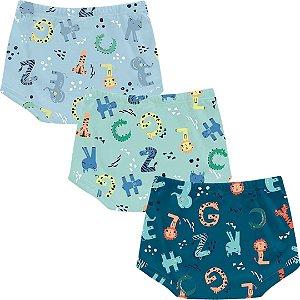 Kit Shorts Cobre Fraldas Bebê Unissex Mini Tiger Dino Tricolor Kiko Baby