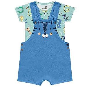 Conjunto Macacão Jardineira Bebê Mini Tiger Dino Verdinho Kiko Baby