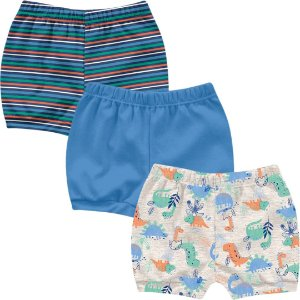 Kit Shorts Cobre Fraldas Bebê Unissex Little Dino Cinza Mescla Kiko Baby