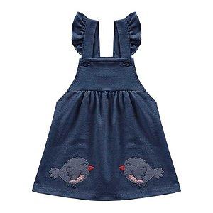 Conjunto Vestido Bebê Salopete Little Birds Azul Escuro Kiko Baby