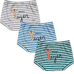 Kit Shorts Cobre Fraldas Bebê Unissex Mini Tiger Listras Kiko Baby