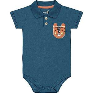 Kit Body Manga Curta Bebê Menino Gola Polo Mini Tiger Azul Intenso Kiko Baby