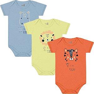 Kit Body Manga Curta Bebê Unissex Mini Tiger Liso Tricolor Kiko Baby
