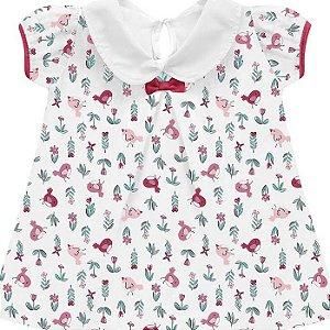 Conjunto Bebê Menina Bata Cobre Fraldas Little Birds Branco Kiko Baby