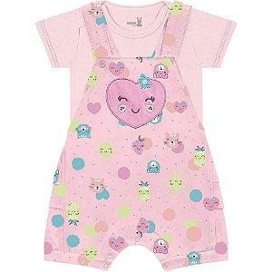 Conjunto Macacão Curto Jardineira Bebê Frutinhas Rosa Kiko Baby