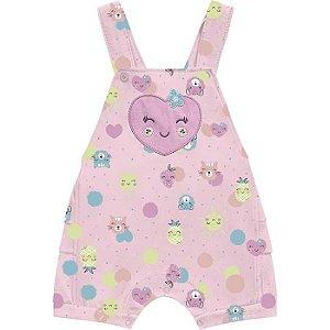Conjunto Macacão Jardineira Bebê Frutinhas Rosa Kiko Baby