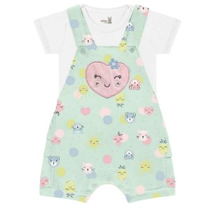 Conjunto Macacão Curto Jardineira Bebê Frutinhas Verde Kiko Baby
