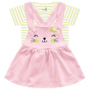Conjunto Vestido Bebê Salopete Coelhinhos Rosa Kiko Baby