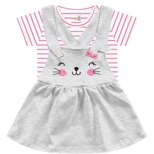 Conjunto Vestido Bebê Salopete Coelhinhos Cinza Kiko Baby