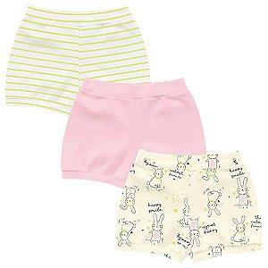 Kit Shorts Cobre Fraldas Bebê Menina Coelhinhos Amerelo Kiko Baby