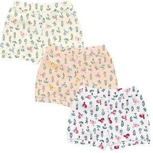 Kit Shorts Cobre Fraldas Bebê Menina Little Birds Kiko Baby
