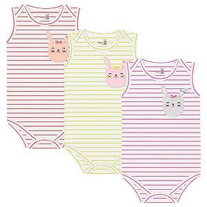 Kit Body Regata Bebê Menina Coelhinhos Listras Kiko Baby
