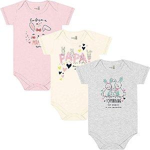 Kit Body Manga Curta Bebê Menina Coelhinhos Tricolor Kiko Baby