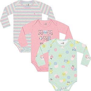 Kit Body Manga Longa Bebê Menina Frutinhas Verdinho Kiko Baby