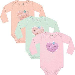 Kit Body Manga Longa Bebê Menina Frutinhas Tricolor Kiko Baby