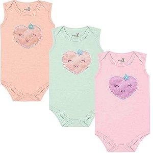 Kit Body Regata Bebê Menina Frutinhas Bailarina Tricolor Kiko Baby